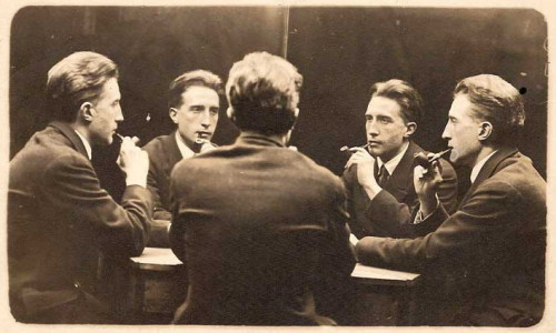 "artistandstudio:  Portrait multiple de Marcel Duchamp (Five-Way Portrait of Marcel Duchamp),   Gelatin silver print, 1917 ""The five-way picture, made by sitting in front of a hinged mirror, had gained popularity by the late nineteenth century and was commonly found in photography studios and at amusement parks.  Duchamp transformed a mechanical picture into a self-portrait that embodied his view of identity as fractured and unstable. It prefigures his creation of various alter egos, such as Rrose Sélavy. The picture was made on June 21, 1917, at the Broadway Photo Studio at the same time that Duchamp was photographed with Francis Picabia and Beatrice Wood."" National Portrait Gallery"