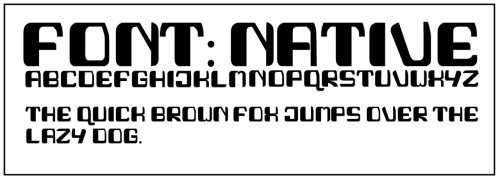 Native, 2012. Font inspired by native American and Inuit text and designs. At this point, all that is in final form is the capital letters and basic punctuation— numbers and special characters/ lowercase letters are still in progress. copyright (c) John Woodward 2012.