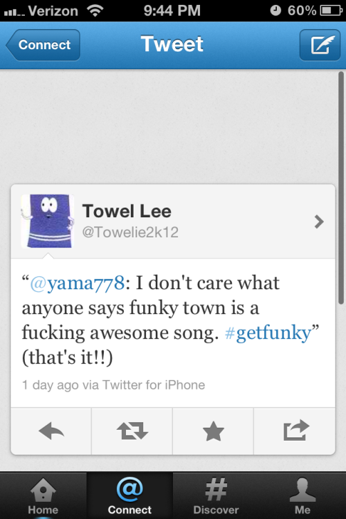 towlie tweeted to me.!!!