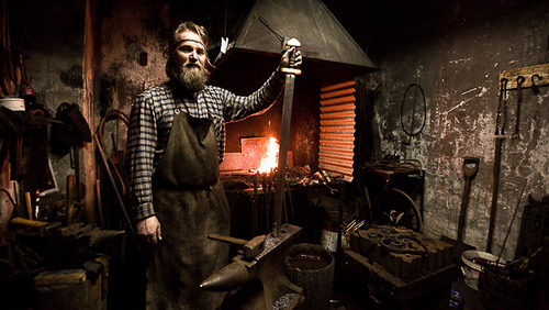 alfsaga:   Agust Atlason This is Danni, the blacksmith in the old machinery at Þingeyri, Westfjords, Iceland. He makes all kinds of things the old way, like the vikings did.