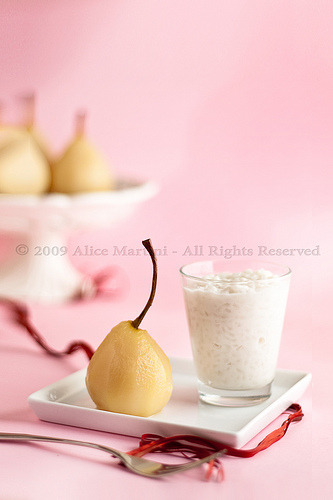 Coconut rice pudding and pears in syrup (by Azabel) Recipe