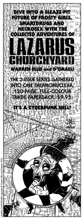 Promotional ad for the Lazarus Churchyard collection by Warren Ellis and D'Israeli, 1993.