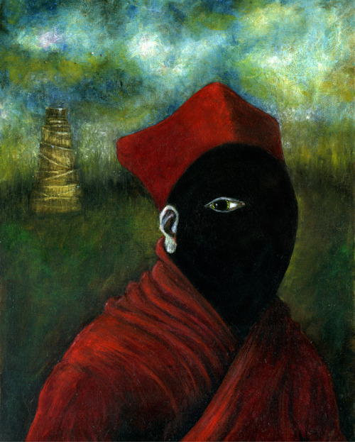 Athanasius Kircher (Masked) Contemplates the Tower of Babel.Sean Hopp. Oil on canvas, 2012.In progress…