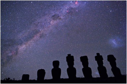 Crux & Milky Way from Easter Island  by Wally Pacholka  The constellation Crux or Southern Cross, shown at extreme top center above, lies within the stream of stars that makes up the Milky Way (lower left to top center). Guest appearance by the Large Magellanic Cloud (LMC) towards the far right.