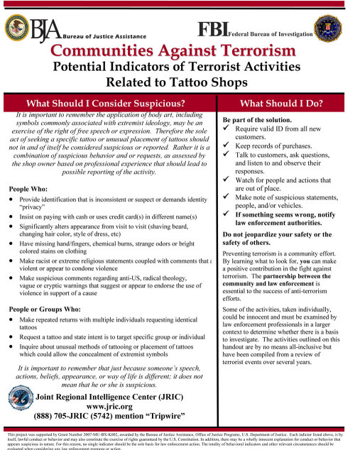 plausibledeniability:  FBI Potential Indicators of Terrorist Activities Relating to Tattoo Shops. This is a real FBI handout. h/t The Hope Blog  …what?..
