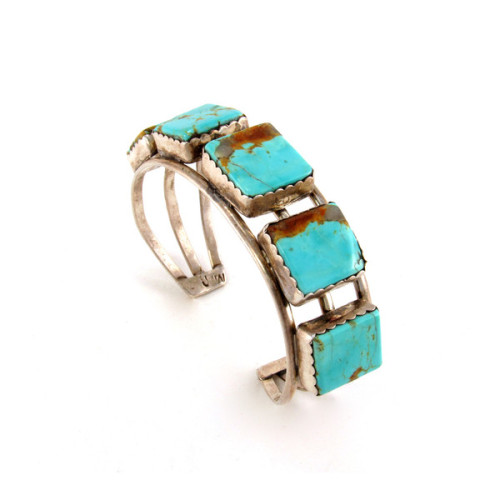 Gretchen Jones wore this classic 1950's or earlier geometric turquoise and silver bracelet to her AW12 New York Fashion Week Presentation stacked with creations from her our previous jewelry lines.  The mix of old and new only brings more value to each…