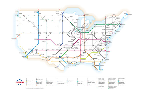 courtenaybird:  Interstates as Subway Diagram