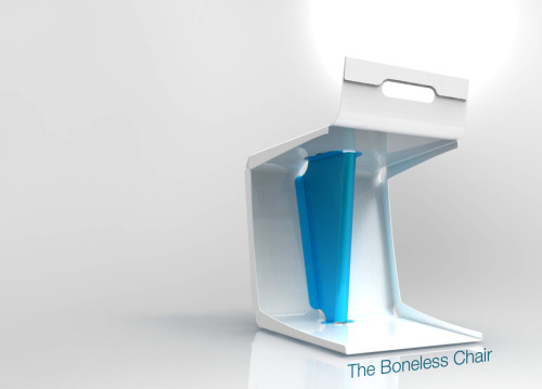 Boneless Chair:We really love how the Boneless Chair turned out, and have been putting some thought into developing it in a variety of other materials. Above is a rendering of what it could look like if made in sheet metal, particularly if we went with Shane's standard colourway of white and cyan.