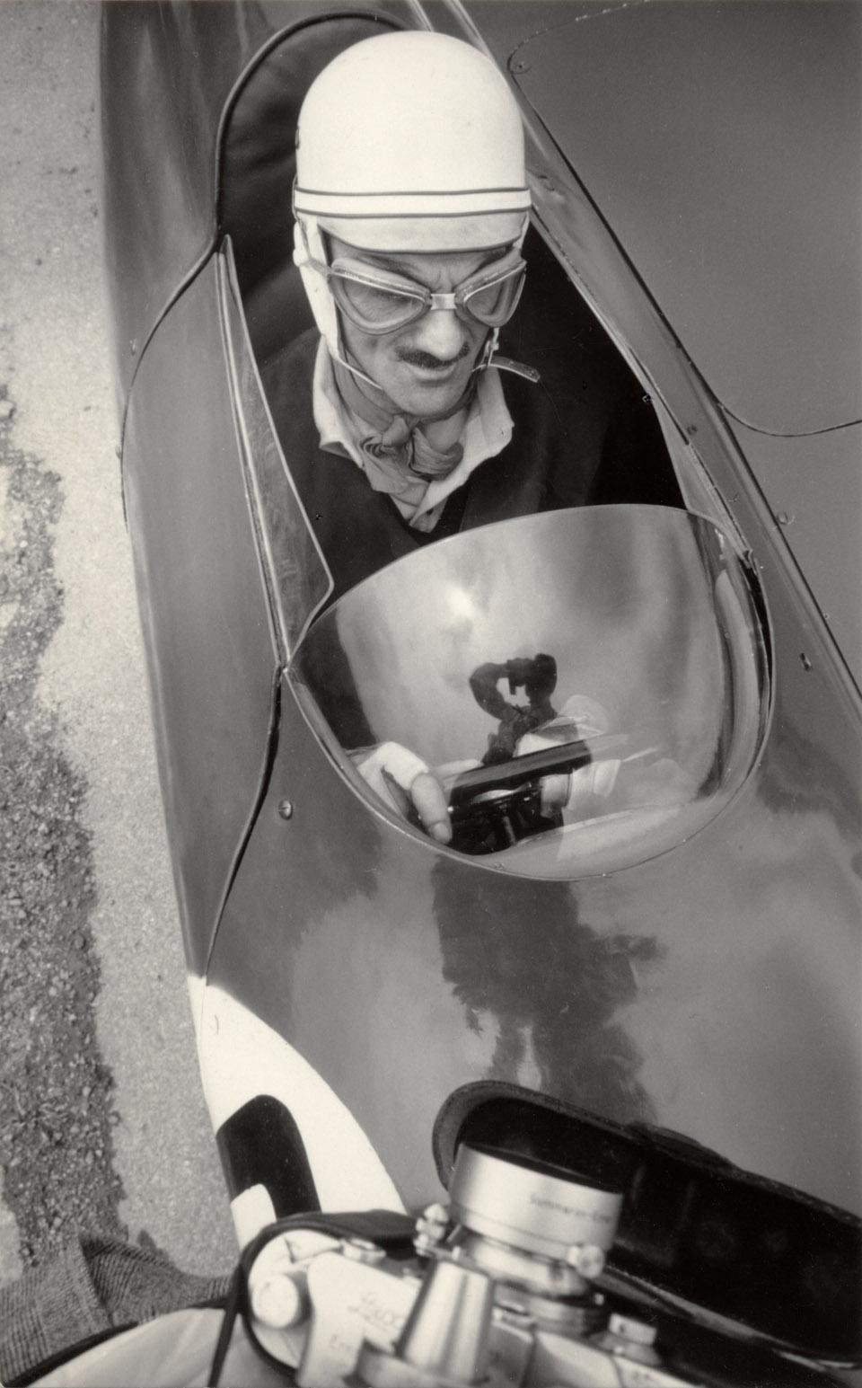 Carlo Mollino Carlo Mollino on his Bisiluro car, 1955.  Photo Invernizzi.