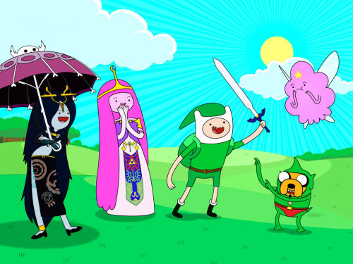 southvanwolf:  Featuring:Finn as LinkJake as TinglePrincess Bubblegum as ZeldaMarceline as MidnaAnd special guest Lumpy Space Princess as Navi