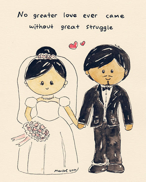 Funny Couple Cartoon Tumblr : love #wedding #couple #cute #cartoon #watercolor #mentol