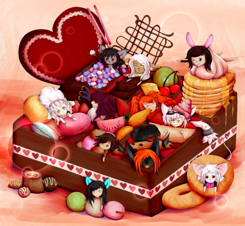phantomnexus:  Phew!! This took forever!! So this is my Valentine's Day picture. And yes, I am uploading it early. I am not waiting. I've been working on it for about a week now (employment kept getting in the way), and I'm pretty happy with the end result. I nearly deleted the entire picture last night because I got annoyed with it, haha. I'm glad I didn't, because this is a present to all the friends I speak to only all the time. Thanks for putting up with me guys!! I played with a more painted style of shading here. I don't even know why, but it looks pretty. ;u; I've never drawn so many characters in a single picture before, not to mention all the details. I'm sorry for mutilating all your characters guys. Q.Q I love you allll~