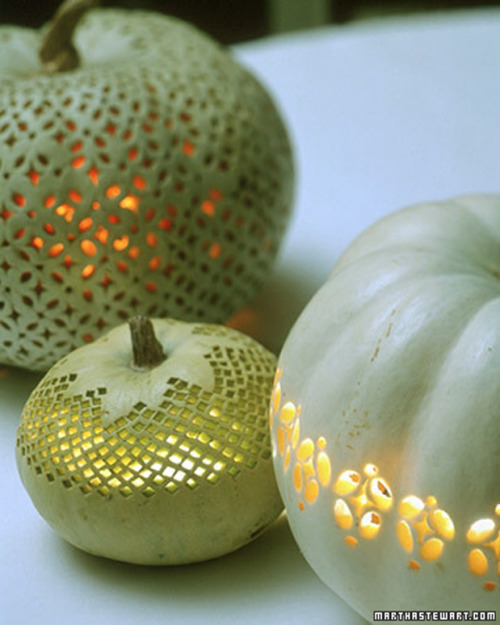 beautiful-shapes:  painted pumpkin lanterns