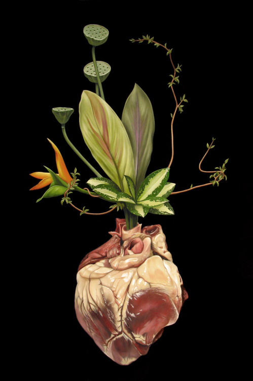 "2headedsnake:  flounderart.com Scott Scheidly -Valentine Ikebana, Acrylic on Panel, 18"" x 26"" 201"