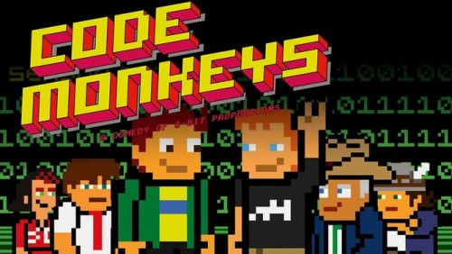 Code Monkeys (TV Series)  (2007) TV-14 - Seasons 1-2  Designed in the style of an early-1980s video game, this outrageous animated series centers on the gonzo programmers at tech startup GameaVision and their antiheroic struggles to get their ideas off the ground. Stoner lead programmer Dave pursues every crackpot impulse, whether joining an underground eating competition or teaming up with pro wrestlers, while neatnik best bud Jerry meekly plays along, and scheming new boss Mr. Larrity cries foul.  7.5/10 - IMDB  View Clip || Add/Watch on Netflix (via:netflixia)