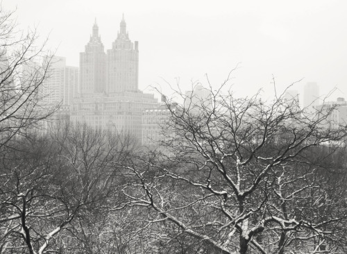 "View from Belvedere Castle in the snow overlooking the San Remo. Winter. Central Park, New York City.  In the yawning hours of the morning, the earth stretches its snow-laden limbs skyward and the clouds leave a dissolving trail of heart-heavy whispers in their wake as all of the city's structures deliquesce into nothingness.  —-  View this photo larger and on black on my Google Plus page  —-  Buy ""Deliquesce - San Remo - Central Park Winter "" Posters and Prints here, View my store, email me, or ask for help."