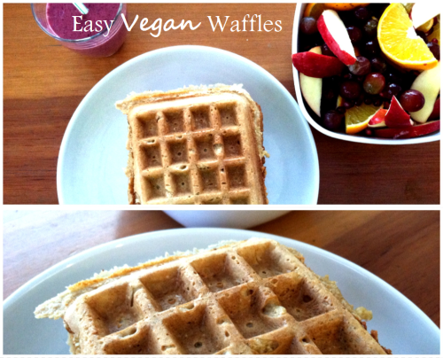 riiaeatsright:  So you might remember my old post about these waffles. Well I made them again this morning and oh my goodness they are amazing! So simple, so yummy, and so much healthier than the average waffle! So how do you make them? It's easy…here's how: Easy Vegan WafflesIngredients· 2 cups rolled oats· 2 cups water· 1 banana· 1/2 tablespoon of sugar· 1 teaspoon vanilla· 1/2 teaspoon salt Got all that? Great! Now just follow 5 steps:1. Preheat waffle iron2. Blend all ingredients together in a blender3. Pour the batter into the waffle iron4. Cook until done5. Enjooooooy! :) I know that this is my old post, I just wanted to say that I used this same recipe and made pancakes! So don't be afraid to try it out! Make a bunch of pancakes or waffles and store them in the fridge for the rest of the week! Super fast, super healthy, and suuuper delicious! :)   Looks yummy! Want to try! :) love waffles/breakfast foods!
