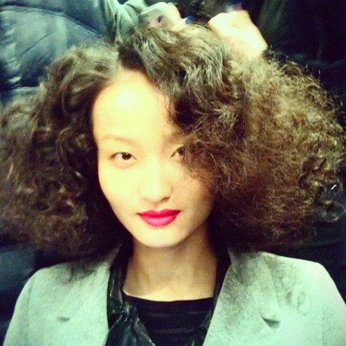 "Hair at Ruffian: ""Retro British city girl bob."" Lip color is Ruffian Red! Photographed by Kristie Dash"