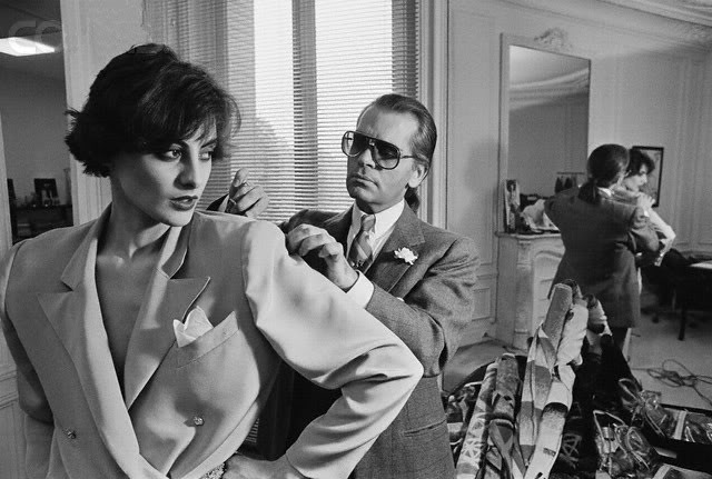 Ines de la Fressange and Karl Lagerfield, 1983