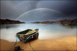 Rainbow and a wee boat - Ardtoe - Scotland by angus clyne on Flickr.