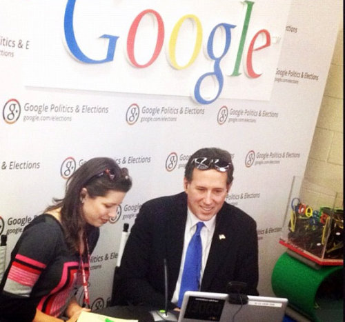 Google & Santorum At CPAC What a combo! (Taken by arishapiro via Instagram)