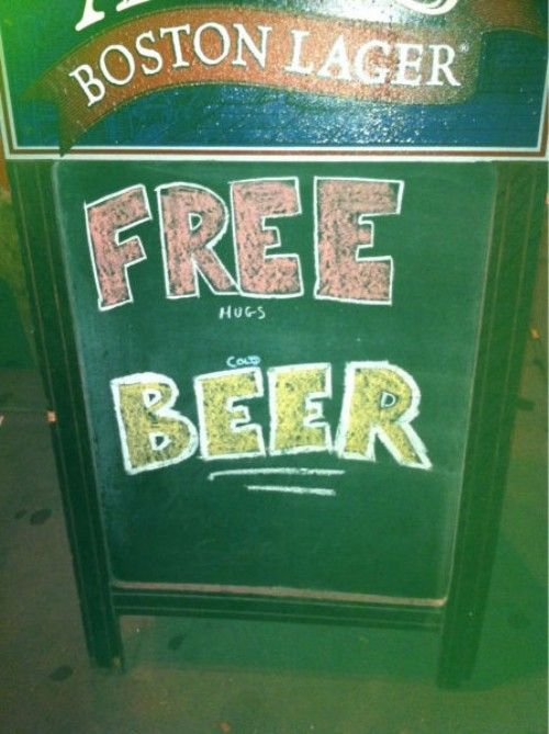 FREE hugs cold BEER