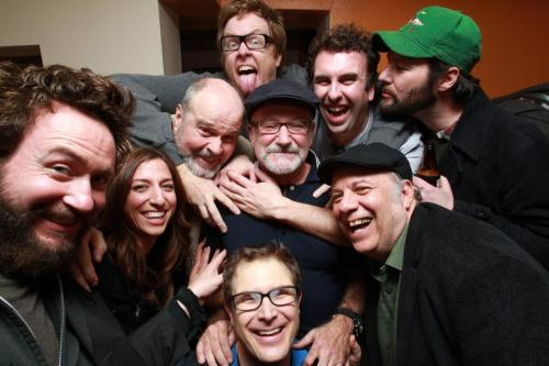 "Courting Sketchfest: Robin Williams surrounded by, from bottom: Troy Conrad, Chelsea Peretti, Brendon Walsh, Rick Overton, Steve Agee, Matt Braunger, Jon Dore and Eddie Pepitone. Photo by Jakub Mosur. [Coincidently looks like a happier version of ""World's Greatest Dad"" (see: ""I Hope I Become A Ghost"")]"