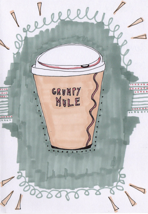 Grumpy Mule, coffee cup from my uni