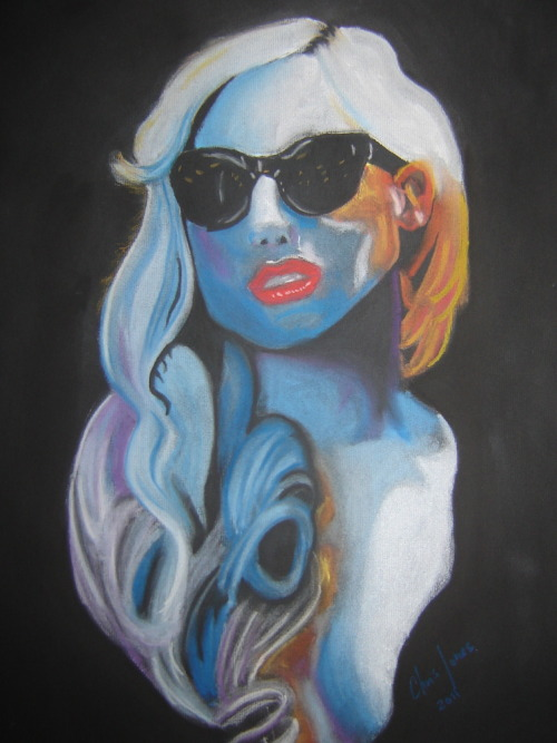 """Oh My Gaga""  Pastels on Blk paper"