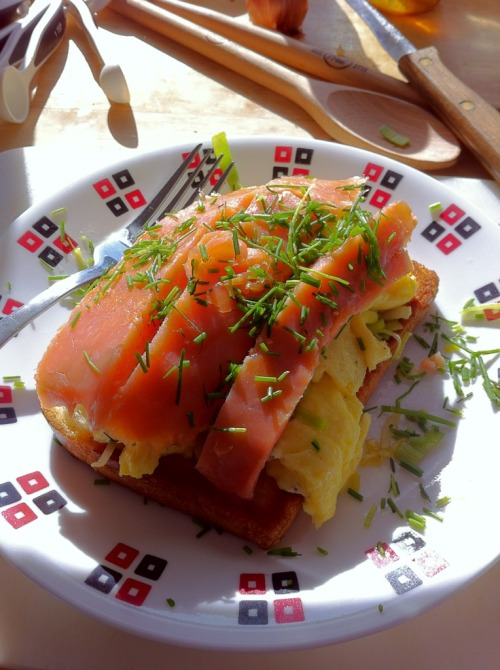 Made this delicious Smoked Salmon and Scrambled Eggs on Toast for breakfast #noms    - Posted using Mobypicture.com