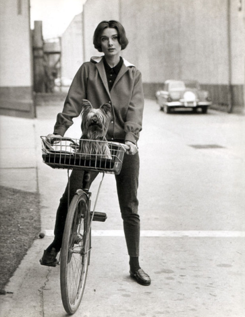 Audrey apparently loves bicycles.