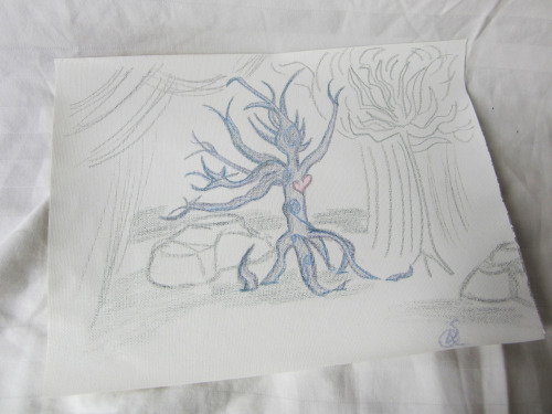 "TREE GUARDIANPencil on 8.5"" x 11"" CanvasSigned OriginalOffers?Story/Description: I started playing with curves and the open heart, and it just sort of… Evolved."