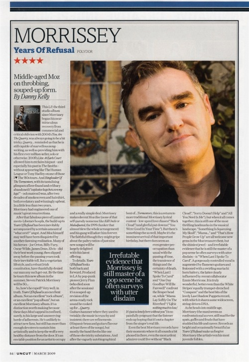 "Review of ""Years of Refusal"" by Danny Kelly for Uncut in March 2009."