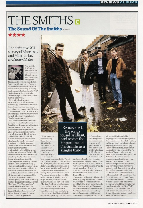"Review of ""The Sound of The Smiths"" by Alistair McKay for Uncut, December 2008."