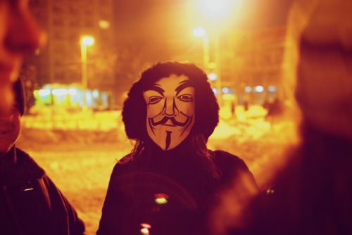One of the many Guy Fawkes during the Anti-ACTA protest in Iasi, Romania.