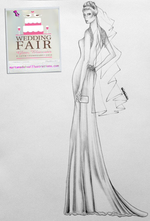 Bluewater wedding dress bridal illustration by Marta Madaiva