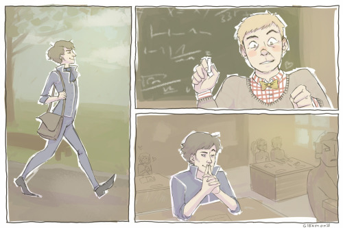 colors-and-impulse:  Some illustrations of Floobins Sherlock School AU! I love it so much.Sherlock's a student in a british private (expensive!) bording school, John is his teacher. He teaches maths, and he's the liaison teacher and the school doctor. Also he's one of the housemasters of the bording school. (St. Baker school? lolol we still don't know)Prof. Dr. John Watson has lived a peaceful life at St. Baker school, till a new student arrives at the school. He's way younger than the other students because he skipped a couple of grades. He incites lots of unrest. He corrects students as well as teachers and most of the people hate him. Other students try to bully him, but he fights back and gets into fights very often. He even developed an own fighting style to keep up with the much bigger and stronger students.John is fascinated.Mycroft Holmes, an alumnus of John, tries to pay him (and other teachers) good money to keep the new student, his younger brother, in school, because he's been at so many private schools already and doesn't want him to leave this one, too.But regardless, after a while, the school governors decide to throw him out. John doesn't want this student to leave.That's why he decides to tutor Sherlock. In social behaving. And that's when all his problems start…  All these feelings- I can't hold all these feelings. Aaaaahhhhasdfdfjdlfdklsafda.