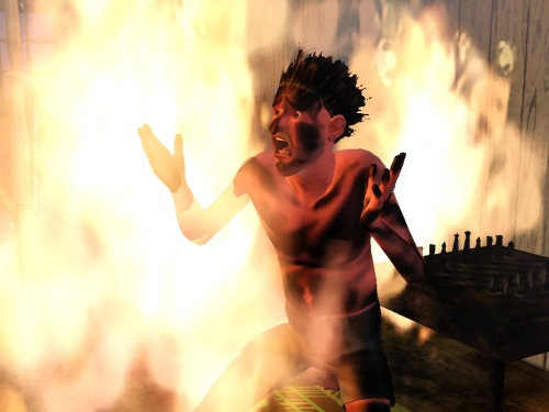 "simsgonewrong:  ""How did you catch on fire"" ""I swear, I don't know!"""