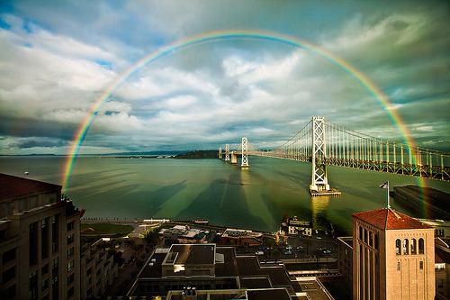 theworldwelivein:  San Francisco Rainbow over the Bay Bridge, California© Lisa Bettany {Mostly Lisa}