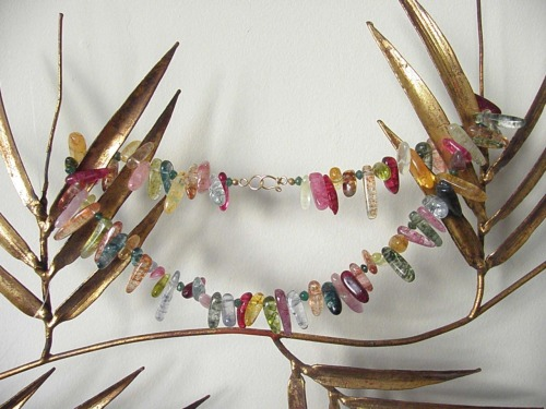 Mixed tourmaline chunk necklace, gold fill clasp
