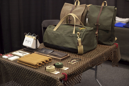 Archival Clothing's table at Inspiration 2012, including some Hollows Leather pieces.