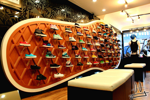 silencedglory:  I love how the shelving background is the sole of a Vans shoe <3