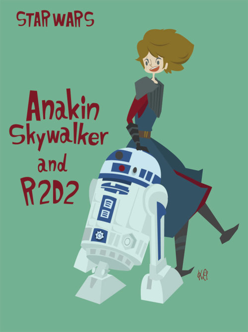 Anakin Skywaiker and R2D2 from STAR WARS : CLONE WARS movie and cartoon. 2012.Feb