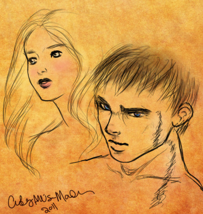 "A doodle from Wings of the Wicked - ""Kate and Marcus"""