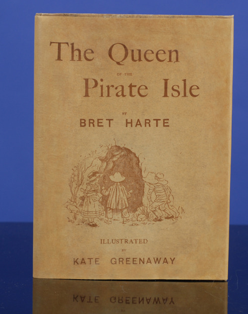"The Queen of the Pirate Isle Bret Harte.  Illustrated by Kate Greenaway. Engraved and Printed by Edmund Evans. London: Chatto and Windus, 1886.  First edition, binding A. Presentation Copy from the Author to Lady Alfred Paget signed and dated London December 2d, 1886. Octavo (8 1/2 x 6 1/4 in; 216 x 159 mm). 58 pp. Color frontispiece and twenty-seven text illustrations in color by Kate Greenaway. All edges gilt. Publisher's original tan cloth, covers pictorially decorated in colors (the front cover with the illustration from page 13, the lower cover with the illustration from page 16), all edges gilt.  —————————————————- ""I first knew her as the Queen of the Pirate Isle. To the best of my recollection she had no reasonable right to that title. She was only nine years old, inclined to plumpness and good humour, deprecated violence and had never been to sea. Need it be added that she did not live in an island and that her name was ""Polly."""