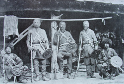 Georgian fighters, many of these were trained in typical european sword and buckler fencing up to this day and claims to be descendants of crusaders. http://www.youtube.com/watch?v=d3Pq8EYDTcQ&feature=related