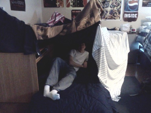 Ben made a fort in our dorm room. I swear we're 19, not 10. You know you're jealous though. ;p