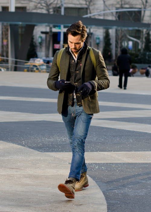 meninthistown:  Denim and tweed.