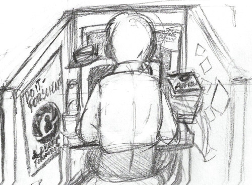 Wheatley at his desk sketch…  I've been reading Blue Sky, and I thought his little cubical was absolutely adorable. I also imagine he sits on an exercise ball.