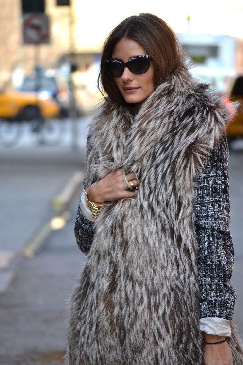 wgsn:  We snapped Olivia Palermo yesterday at New York Fashion Week  Snuggly & cute!